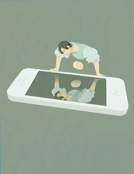 ilustración narcicso en el celular