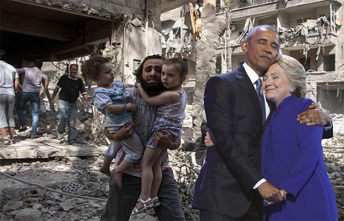 obama y hillary editados en siria
