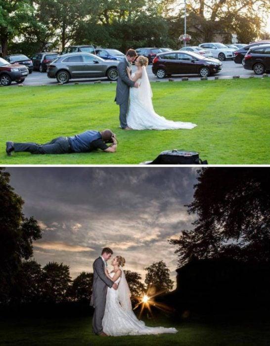 detrás de escenas fotógrafo de boda