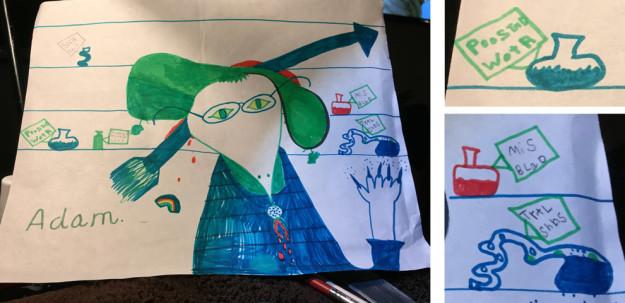 dibujo de niño: bruja atravesada por una flecha