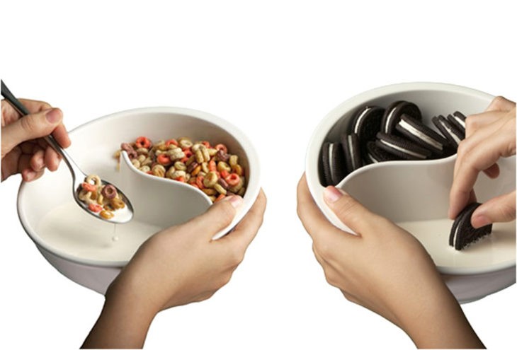 tazón para separar la leche de las galletas o el cereal
