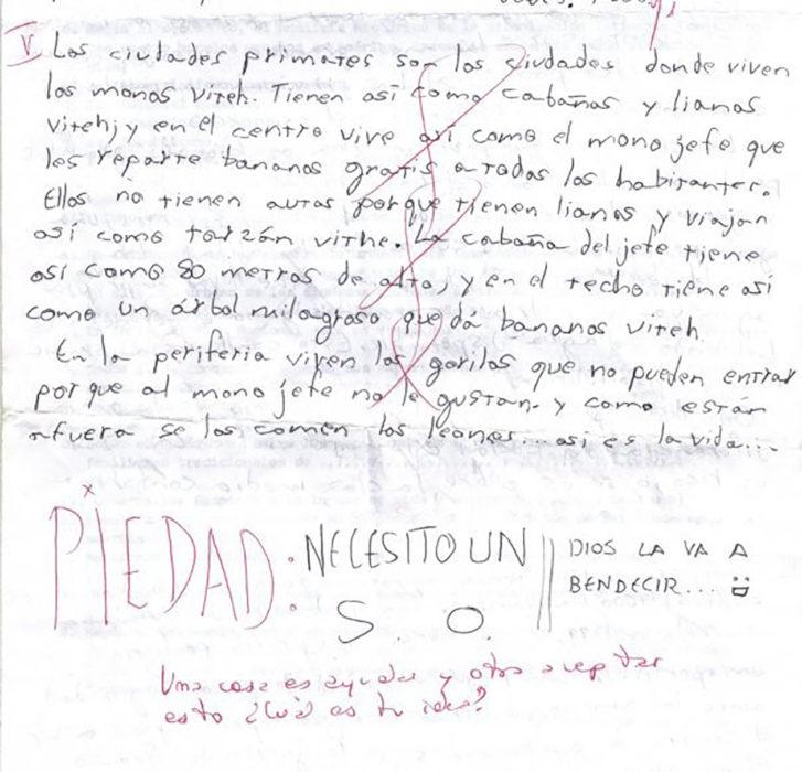 imagend e una carta escrita por un niño