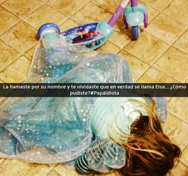 niña llorando en el piso vestida de elza