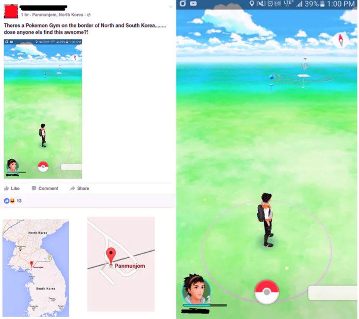 Adictos Pokemón Go . en la frontera de corea del norte