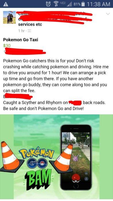 Adictos Pokemón Go pokemon taxi