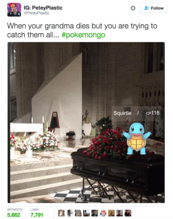 Adictos Pokemón Go. Funeral abuela