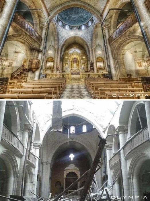 Aleppo, Siria. foto del interior de una iglesia antes y despues de la guerra