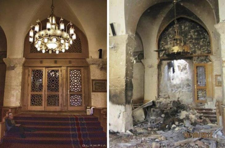 Aleppo, Siria. Puerta con candelabro destruidos