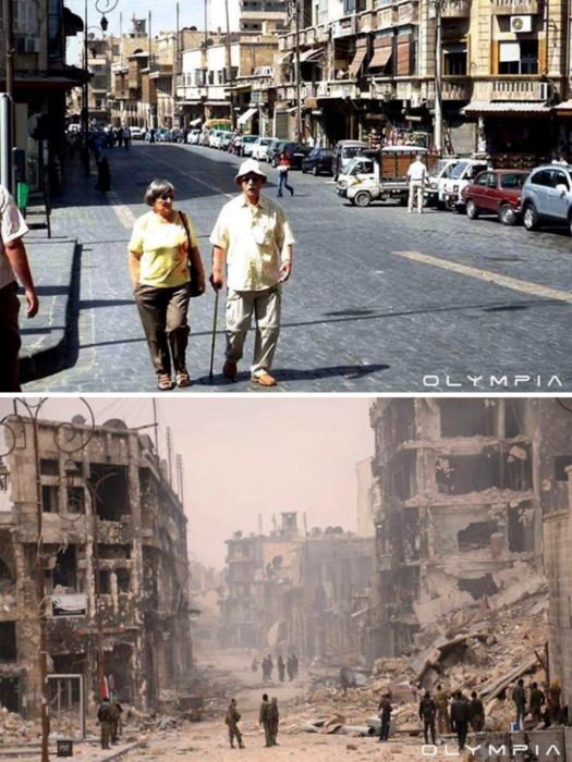 Aleppo, Síria, destruiu estradas e edifícios em ruínas