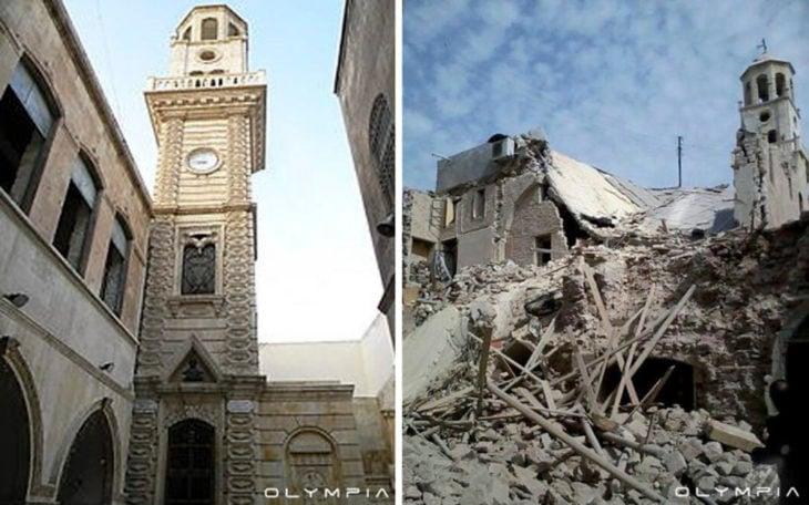 Aleppo, na Síria.  Fotos antes e desppués de guerra