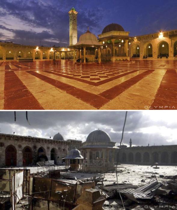 Aleppo, na Síria.  Um quadrado antes da guerra e agora