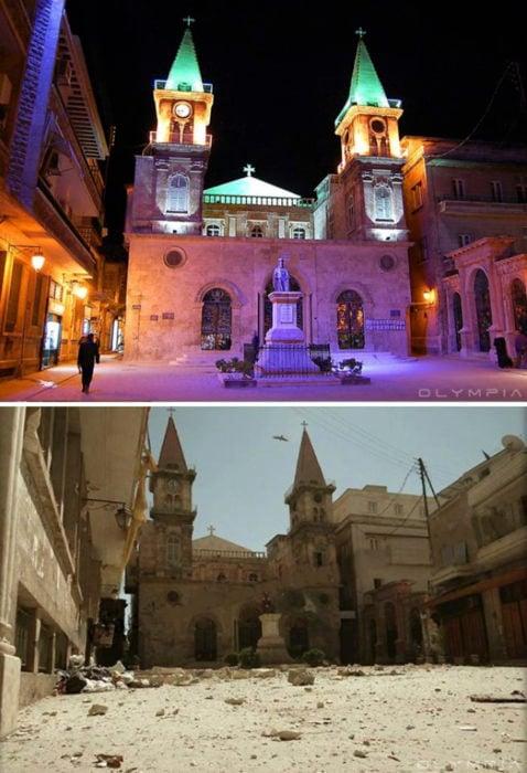 Aleppo, na Síria.  Fotod e um quadrado e uma igreja no fundo completamente destruído