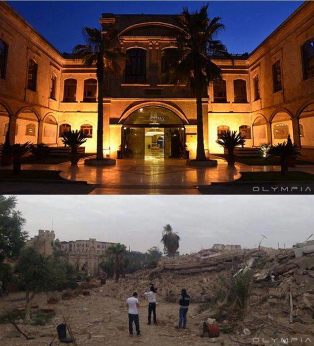 Aleppo, Siria. Foto de un edificio que parece ser como un hotel o algo así y en la otra foto ya no hay nada