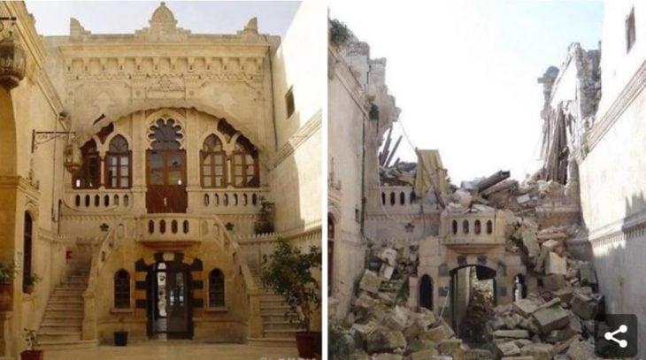 Aleppo, Siria. Foto de un edificio antes y después de la guerra