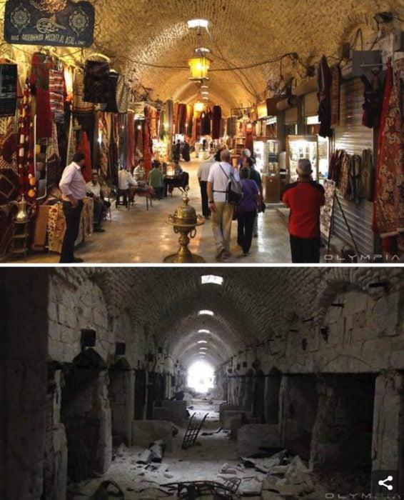 Aleppo, Siria. foto de un mercado antes y después de la guerra
