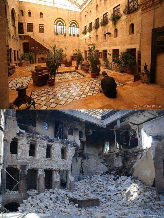 Aleppo, Siria. Foto del interior de un edificio antes y después d ela guerra