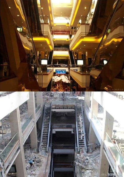 Aleppo, Siria. foto de un centro comercial antes y después d ela guerra