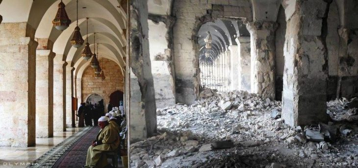 Aleppo, Siria. foto de una mezquita antes y después d ela guerra