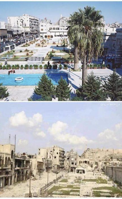 Aleppo, Siria. foto de un lugar con jardín y alberca ants y después de la guerra