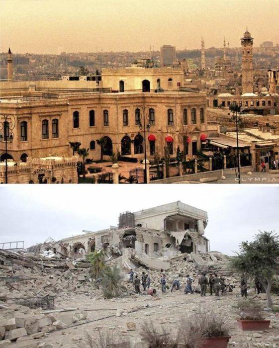 Aleppo, na Síria.  foto de um edifício antes e depois da guerra