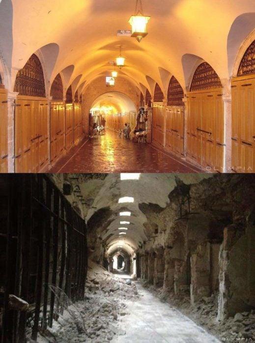 Aleppo, na Síria.  imagem antes e depois da guerra em um prédio
