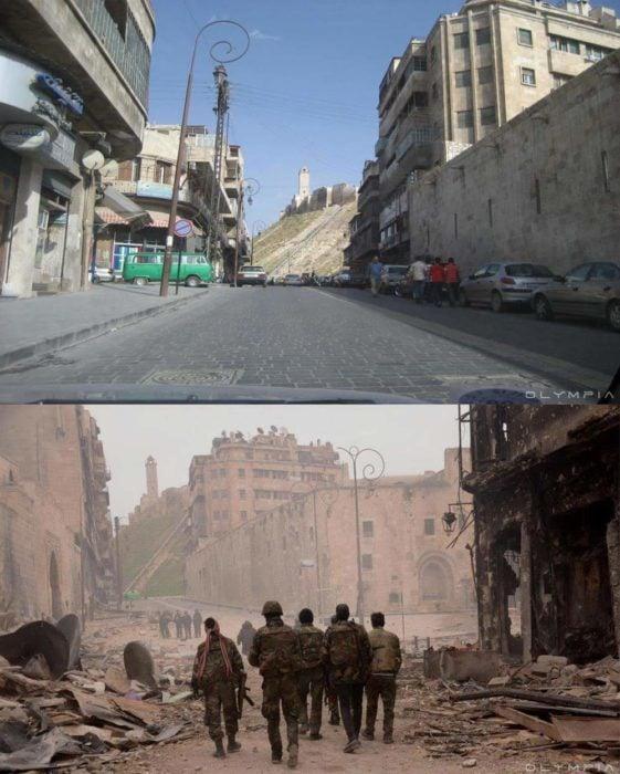 Aleppo, Siria. foto en la calle antes y después de la guerra