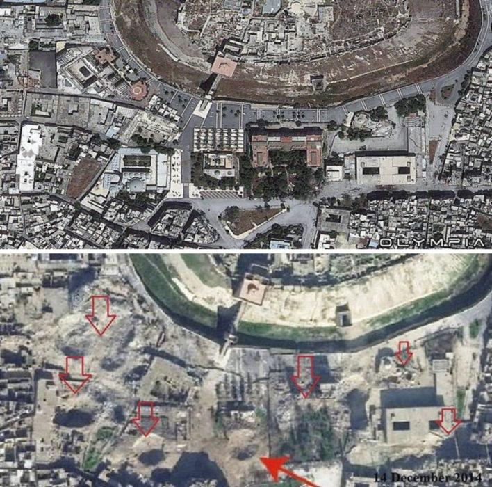 Aleppo, na Síria.  foto panorâmica da cidade antes e depois da guerra