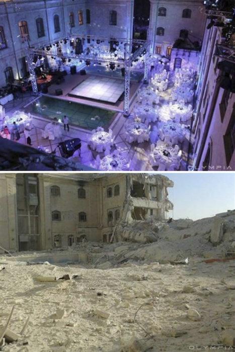 Aleppo, Siria, antes de la guerra y después dela guerra