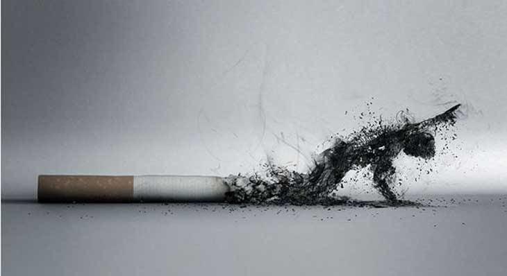 fumador en cenizas