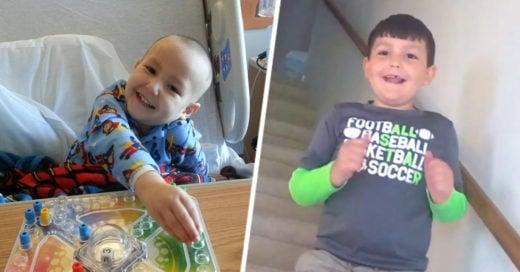 Reacción de un niño al enterarse que venció al cancer