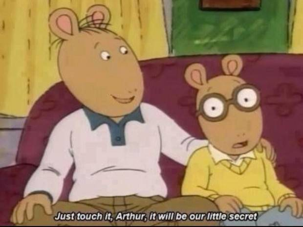 Caricatura de Arthur, padre e hijo