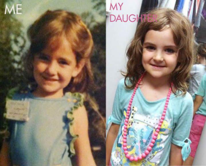 Clon de hija con vestido azul