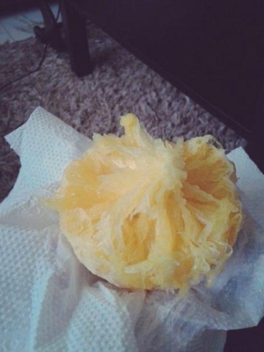 naranja comida fuera de los gajos
