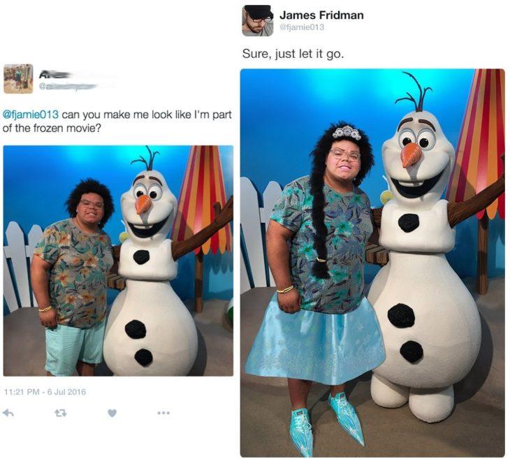 James Fridman como si fuera parte de la pelicula frozen