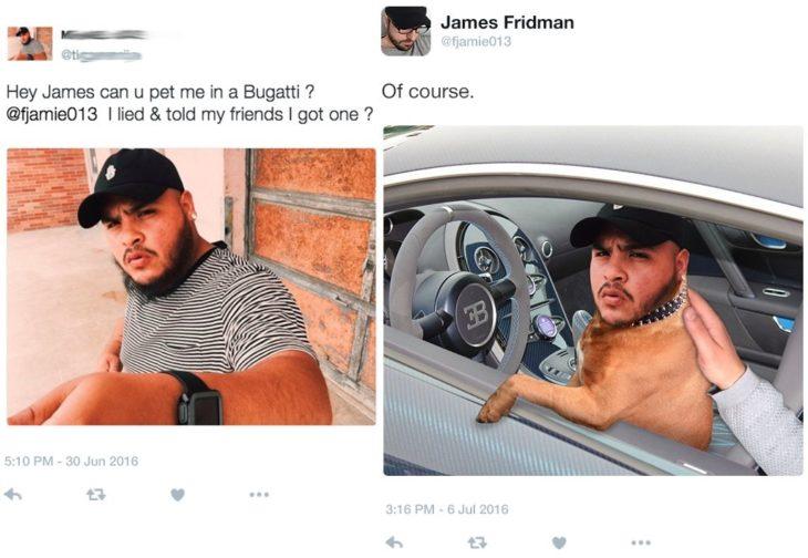 James Fridman en un bugatti