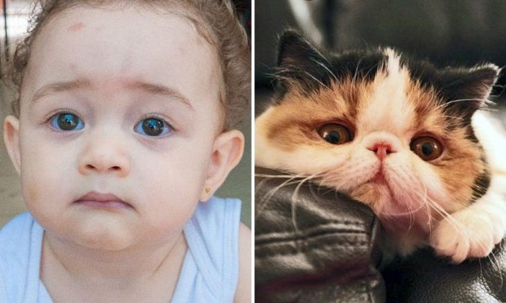 Niño con cara de gato