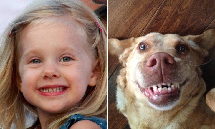 Niña con cara de perro sonriente