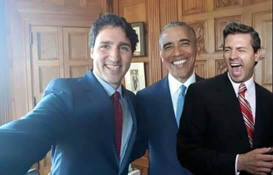 sobresaliendo de los mandatarios de Canadá y USA