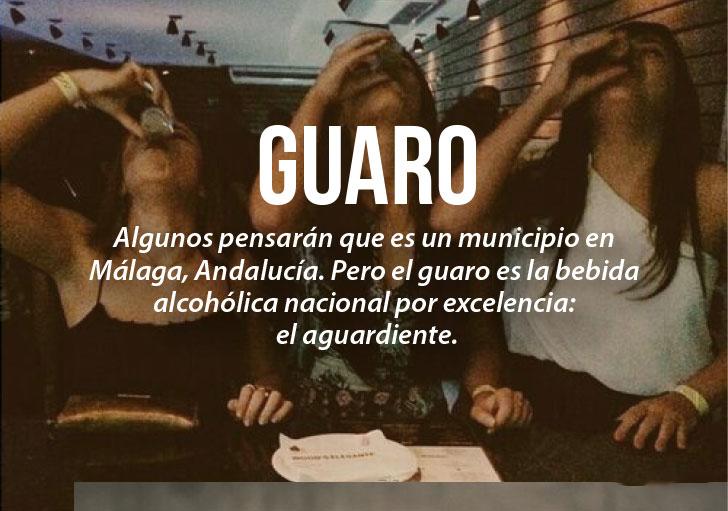 Modismos colombianos. Guaro