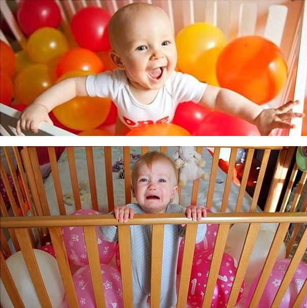 niño lleno de globos