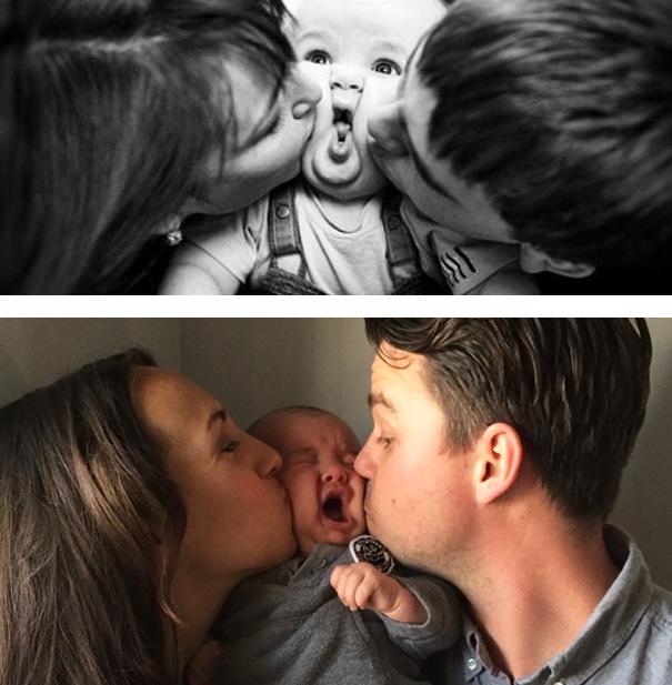 bebé que no le gustan los besos