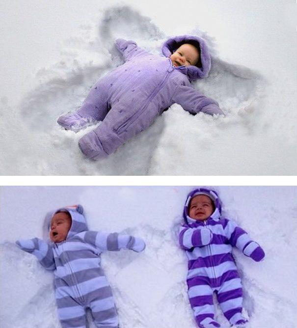 haciendo angelitos en la nieve