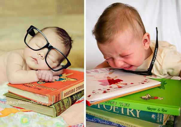 bebé llorando porque le pusieron lentes