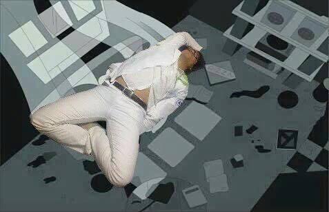 Pasante medicina se queda dormido. Photoshop en un anime