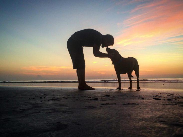 Hombre y perra en una playa al atardecer