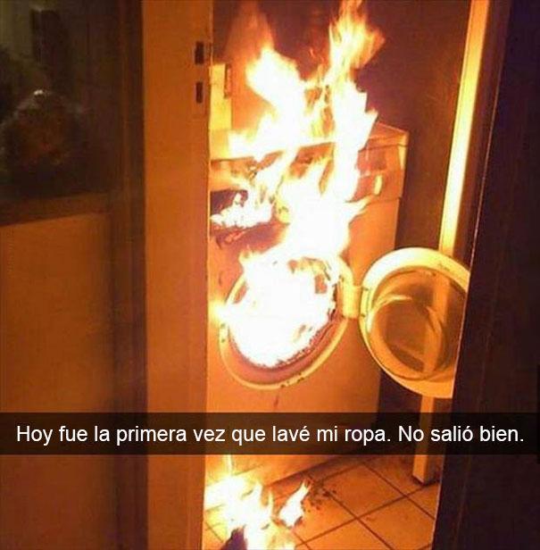 Snapchat Divertidos. Secadora de ropa en llamas