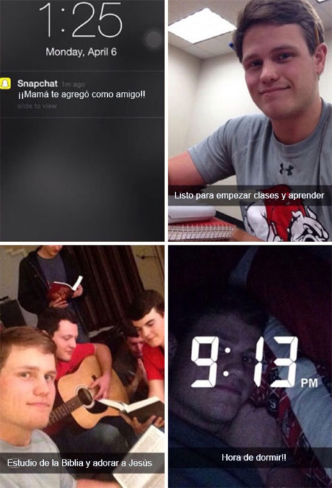 Snapchat Divertidos. Mamá sigue a su hijo en snapchat