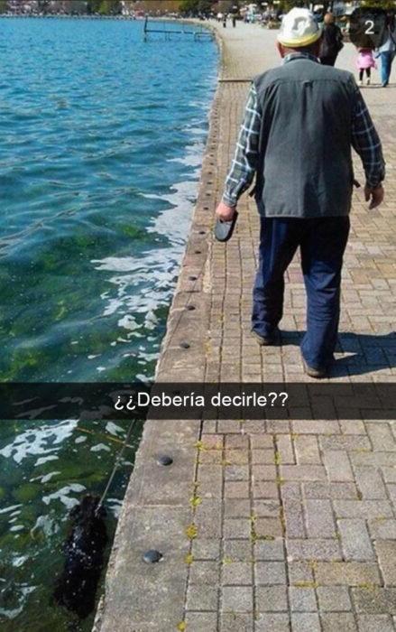 Snapchat Divertidos. Viejito paseando a su perro pero el perro cayó al agua