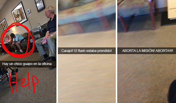 Snapchat Divertidos. Chica le toma foto a un chico y sale flash