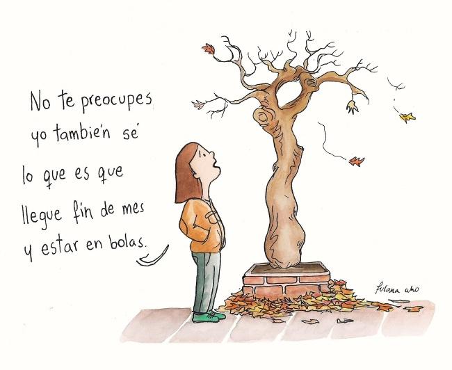 Mujer hablando con árbol